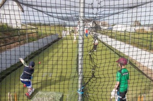 Net gainers - batting practice at a Monday night youth session at Instow
