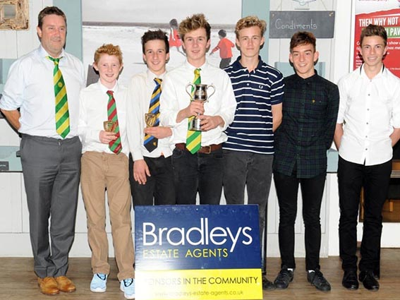 Budleigh Salterton's title winning under-15 team at the 2015 EDYL awards evening